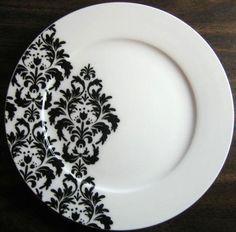 "$19.99 8.25"" Dia Decorative Dishes - Black on White Delicate Wallpaper Damask Motif Porcelain Plate M, $19.99 (http://www.decorativedishes.net/black-on-white-delicate-wallpaper-damask-motif-porcelain-plate-m/)"