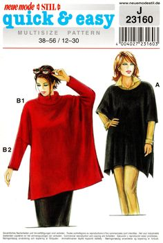 Sz 12 to 30 - Neue Mode Tunic Pattern - Misses' Loose Fitting, Scoop Neck or Turtleneck Tunic in Two Options - Neue Mode Quick & Easy Types Of Patterns, Coat Patterns, Clothing Patterns, Sewing Patterns, Jumpsuit Pattern, Tunic Pattern, Kaftan, Slim Pants, Sewing Clothes
