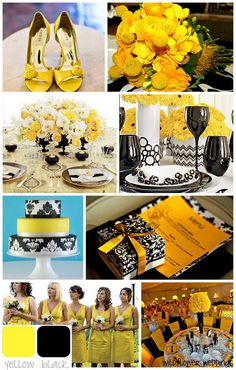 Black and yellow with Tiffany blue