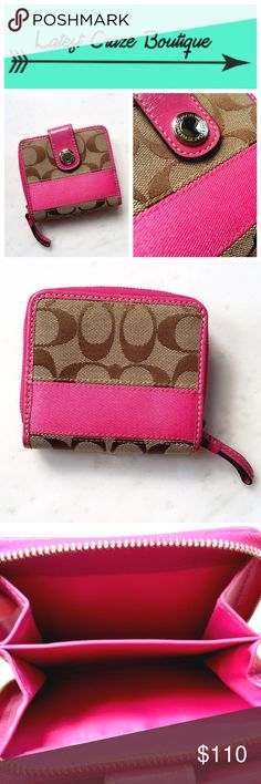 COACH Signature Medium Wallet NWOT! Brown signature print canvas fabric with magentata pink detail, has a snap closure as well as a zip-around coin pocket, several interior credit card slots plus bill pocket, leather interior. Approx. 4.5in(L) 3.75in(H) 1.5in(W) Coach Bags Wallets