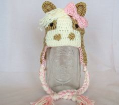 Crocheted Horse Hats with Ear Flaps