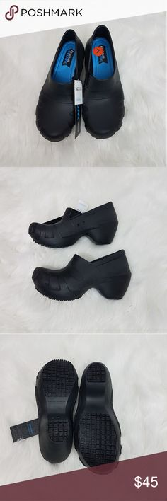 New Dr. Scholl's Trance Women's Clogs DR. SCHOLL'S TRANCE WORK CLOG MRSP $55.00  Color: Black  PRODUCT DESCRIPTION  DESCRIPTION  The Trance lightweight clog from Dr. Scholl's is the perfect slip resistant work style for all of your needs. The comfort insole and leather outsole make this a comfortable yet stylish choice!  FEATURES EVA upper Round toe Comfortable EVA insole Oil resistant and slip resistant outsole that meets SATRA TM 144 2.75-in. wedge Dr. Scholl's Shoes Mules & Clogs