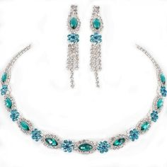 Sparkly aqua teal diamante choker sets perfect for proms available in other colours