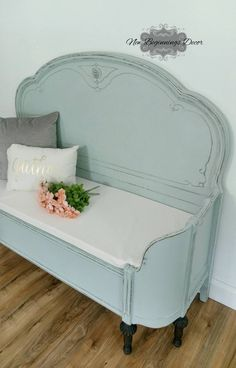 SOLD EXAMPLE Annie Sloan Chalk Painted Entryway Bench custom made from antique headboard and curved