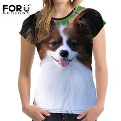3D Papillon & More Papillon Dog, Summer Tshirts, Cheap T Shirts, T Shirts For Women, Clothes For Women, Crop Tops, Women's Tops, Shirt Dress, 3d