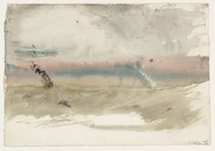 J.M.W. Turner - Ship at Sea. c.1830-41. Chalk and graphite on paper, one of many highly abstract sketches Turner produced towards the end of his career. So far ahead of their time - this one reminds me of the work of Helen Frankenthaler.