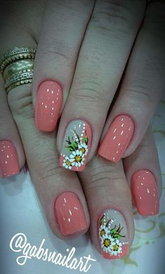60 Stylish Nail Designs for Nail art is another huge fashion trend besides the stylish hairstyle clothes and elegant makeup for women. Nowadays there are many ways to have beautiful nails with bright colors different patterns and styles. Fingernail Designs, Nail Art Designs, Nails Design, Nail Art Flowers Designs, Flower Designs, Coral Nails With Design, Stylish Nails, Trendy Nails, Spring Nails