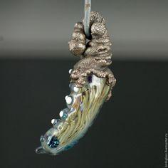 Купить Кокон Перламутровки - разноцветный, бабочка, кокон, куколка, перламутр, стекло, медь, серебро, гальваника