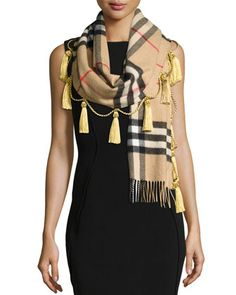 Cashmere+Giant+Check+Tassel+Scarf,+Camel+by+Burberry+at+Neiman+Marcus.