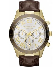 Michael KORS Chronograph Brown Leather Strap  Τιμή: 278€  http://www.oroloi.gr/product_info.php?products_id=31060
