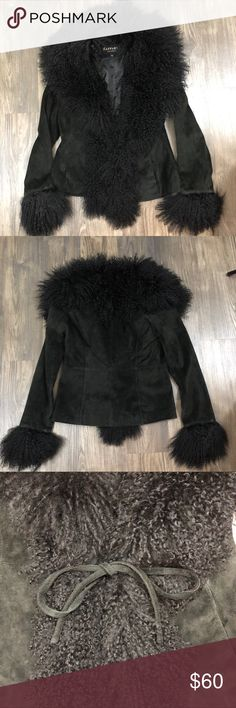 Raffaelo Leather Black Tie Front Jacket Fur Trim Super glamorous Raffaelo Leather Jacket. Black with fur trim. Tie front. Two exterior pockets and one interior pocket. Excellent preloved condition, no flaws. Perfect for winter! Raffaelo Leather Jackets & Coats
