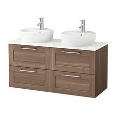 GODMORGON/ALDERN / TÖRNVIKEN Kast voor wastafel 45 v bovenblad - wit, walnootpatroon - IKEA