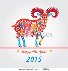 Happy new year 2015. Year of the Goat. - stock vector