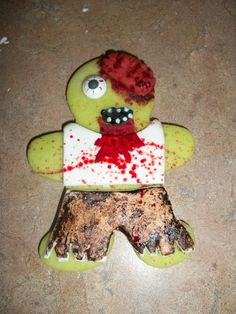 I took a break from making cute little pumpkin cookies and made this guy! Zombie Cookies, Halloween Cookies, Halloween 2, Zombie Plague, Halloween Backen, Cookie Images, Paint Cookies, Zombie Party, Valentine Cookies