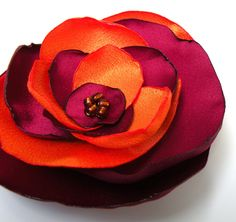 Orange and Burgundy Fabric Flower - wear in your hair, as a brooch or clipped on a scarf - I need this for gamedays!