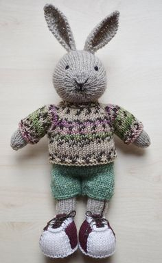 Hand Knit Bunny Boy Little Cotton Rabbit Soft Toy Knitted