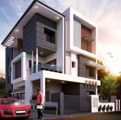 The modern home exterior design is the most popular among new house owners and those who intend to become the owner of a modern house. House Outside Design, House Front Design, Small House Design, Modern House Design, Modern Bungalow Exterior, Modern Bungalow House, Modern House Plans, Modern Houses, 2 Storey House Design