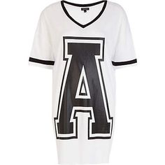 Black and white A print varsity t-shirt dress - River Island price: £20.00