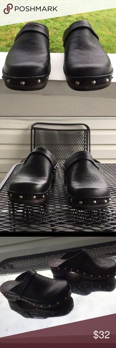 Sanita Studded wooden Clog Wanted these 4years but didn't get them, now they don't make em anymore so I bought used. They're 2 big for me. 😫 Worn to mailbox & I had to curl my toes all funny so they wouldn't fly off. Im sad. Hope2 resell so someday I can score a smaller pair. Size: EU38, US8-8.5. Awesome wooden soles that sound SO cool when U walk. There's 1 stud missing, & like a bleach spot on back. I knew when purchasing but I didnt care bc badely noticeable & I can likely fix. But don't…