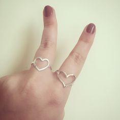 Anéis de coração em prata 925