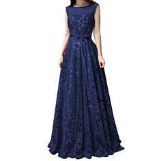 "Lace Long Prom Party Dresses for Women Bridesmaids Sheer Neck Elegant Formal Gowns Navy blue US14. Fabric:Lace of high quality. Please Use The Size Chart Image on the Left. Do not use Amazon's ""Size Chart"" link. Customized sizes and colors and styles are also available. Please send us your detail size; Bust, Waist, Hips and Hollow to Floor(See Product Description list). The shooting light and setting of your computer screen may cause slight color mismatches. All products are subject to..."