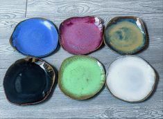 Handmade Salad Plates, Ceramic Dessert Plates, Freeform Organic Plates, Stoneware Dinnerware Set, 6 Assorted Colors - Sold As Set of 6 Freeform fabulous one of a kind dinnerware set of 6 salad plates. Organic salad plates, imperfectly shaped stoneware, glazed in an assortment of colors with