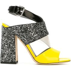 Pollini Geometric Sandals (55850 RSD) ❤ liked on Polyvore featuring shoes, sandals, chunky-heel sandals, black glitter shoes, yellow sandals, ankle wrap sandals and high heel sandals
