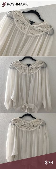 H&M CROCHET CHIFFON TOP Condition: New without tags, No flaws Smoke free home No trades, No returns No modeling  Shipping next day I LOVE OFFERS, offer me! BUNDLE and save more All transactions video recorded to ensure quality.  Ask all questions before buying. Item#64 H&M Tops Blouses