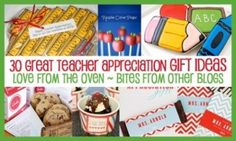 Teacher Appreciation Ideas – Over 30 Teacher Gift Ideas – Bites From Other Blogs - under the kids category for parents to find - who knows? by chasity