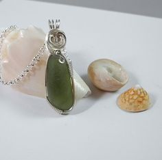 Forest Green Sea Glass Pendant  Wire by MysticalMoonDesigns