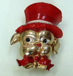 Coro Mr. Dog red enamel brooch Adolph Katz 1942, $180