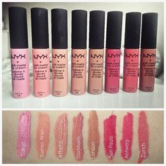 NYX Professional Makeup Soft Matte Lip Cream - Lip creams for matte lips in colors inspired by London, Stockholm, Abu Dhabi and other famous cities! Makeup To Buy, Makeup Swatches, Drugstore Makeup, Makeup Cosmetics, Nyx Lipstick Swatches, Matte Lipsticks, Mac Lipstick, Makeup Lipstick, Nyx Cosmetics Lipstick