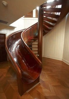 Stairs going up, slide going down