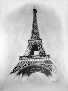 Easy Drawings: 70 Easy and Beautiful Eiffel Tower Drawing and Sketches Eiffle Tower Drawing, Eiffel Tower Painting, Eiffel Tower Art, Eiffel Tower Tattoo, Art Drawings Sketches Simple, Beautiful Drawings, Easy Drawings, Hipster Drawings, Couple Drawings