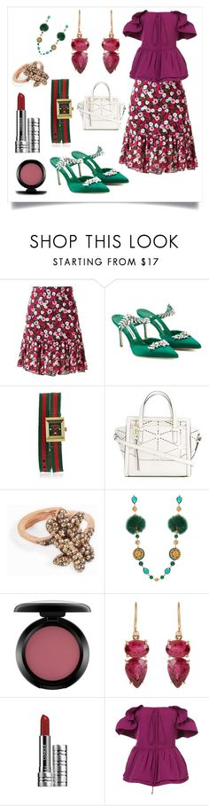 """Ruffled Blouse & Skirt..**"" by yagna ❤ liked on Polyvore featuring Yves Saint Laurent, Manolo Blahnik, Gucci, Salvatore Ferragamo, MAHA LOZI, Dolce&Gabbana, MAC Cosmetics, Irene Neuwirth, Clinique and Rochas"