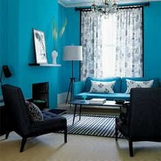 Beautiful Turquoise Room Ideas for Inspiration Modern Interior Design and Decor. Find ideas and inspiration for Turquoise Room to add to your own home. Living Room Turquoise, Teal Living Rooms, Blue Rooms, Living Room Paint, Living Room Modern, Living Room Designs, Living Room Decor, Blue Walls, Small Living