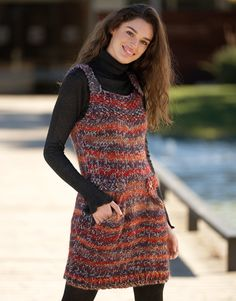 Ravelry: Pinafore Dress pattern by Fil Katia Knit Wrap Pattern, Pinafore Dress Pattern, Mode Crochet, How To Purl Knit, Crochet Woman, Clothes Crafts, Crochet Fashion, Crochet Clothes, Knit Dress