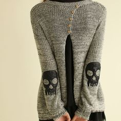 usd29.99/Image of Skull Patch Chiffon Spliced Sweater