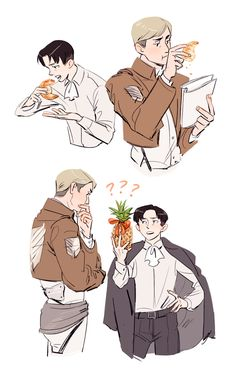 eruri x food they have never seen a pineapple before Attack On Titan Funny, Attack On Titan Ships, Attack On Titan Anime, Levi X Petra, Levi And Erwin, Levi Ackerman, Levi Mikasa, Tragic Love Stories, Eruri