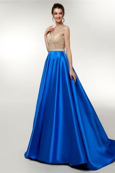 Sexy V Neck Beaded Sheer Bodice Royal Blue Skirt Maxi A Line Prom Evening Dress Royal Blue Skirts, Royal Blue Prom Dresses, Blue Dresses, Formal Dresses, Winter Prom Dresses, Evening Dresses, Orange Blush, Prom Dresses Online, Buy Dress