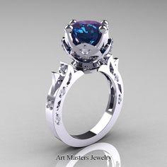 Modern Antique 14K White Gold 3.0 Carat Alexandrite Diamond Solitaire Wedding Ring R214-14KWGDAL | ArtMastersJewelry