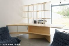 Home office, desk, storage and bookshelf.  Designed by Jo-a Light bamboo and steel. Bureau à domicile et bibliothèque #design #desk