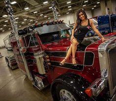 Babes and Big Rigs Show Trucks, Big Rig Trucks, 6x6 Truck, Pickup Trucks, Custom Big Rigs, Custom Trucks, Trucks And Girls, Car Girls, Peterbilt Trucks