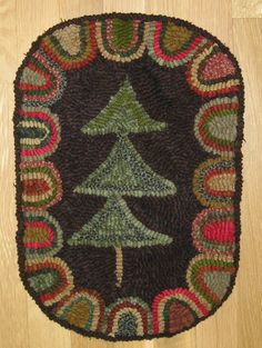 Hand Hooked Rug Primitive Christmas Tree