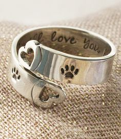"""I want this in memory of Snowhite Carry the love you have for your pet in your heart, and on your jewelry. Our sterling silver adjustable ring is accented with two paw prints, along with the words """"I will love you forever"""" on the inside. Dog Jewelry, Animal Jewelry, Silver Jewelry, Jewelry Accessories, Silver Rings, Game Mode, Ring Set, Dog Love, Your Pet"""