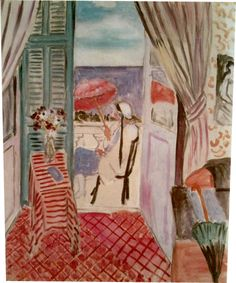 Woman with a Red Umbrellas ~ Henri Matisse ~ (French: 1869-1954)