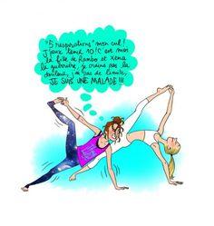 On s'amuse aussi. Yoga Humor, Workout Humor, Yoga Jokes, Gym Frases, Funny Cute, Hilarious, Yoga Illustration, Haha, Image Fun