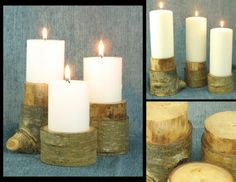 Set of three carved Aspen branch candle holders. by shiningcity. Great for adding a contemporary rustic feel as a table centerpiece or on your mantle.