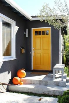 Bold front door colors house Ideas for 2019 Exterior Paint Colors For House, Paint Colors For Home, Exterior Colors, Exterior Design, Paint Colours, Wall Colours, Dark Grey Houses, Yellow Houses, Grey House White Trim