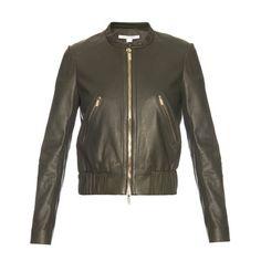 Diane Von Furstenberg Buckley jacket (22.250.415 VND) ❤ liked on Polyvore featuring outerwear, jackets, khaki, diane von furstenberg jacket, lambskin leather jacket, lambskin jacket, biker style jacket and collarless jacket